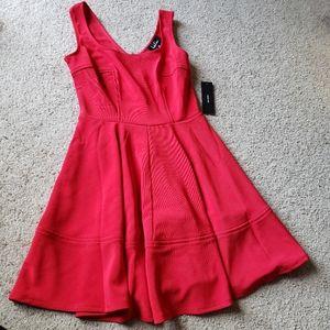 Lulus Red Stretch Skater Dress Sz M NWT